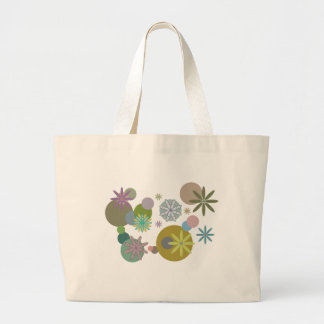Retro 60s Flowers & Dots Large Tote Bag