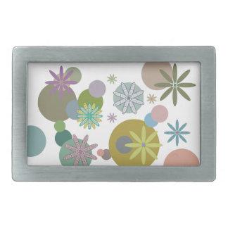 Retro 60s Flowers & Dots Rectangular Belt Buckle