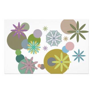 Retro 60s Flowers & Dots Stationery
