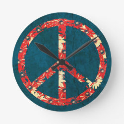 Retro 60s Hippy Peace Sign Round Clock