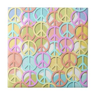 Retro 60s Pastel Peace Symbols MOD Tiles