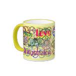 Retro 60's Peace Signs GalorePeace Love Compassion Ringer Coffee Mug