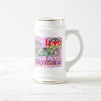 Retro 60's Peace Signs GalorePeace Love Compassion Mugs