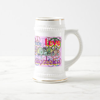 Retro 60's Peace Signs Peace Love Compassion Beer Stein