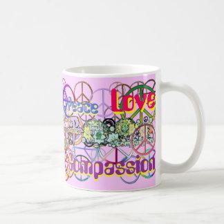 Retro 60's Peace Signs Peace Love Compassion Coffee Mug
