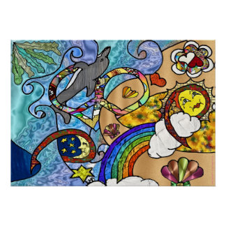 Retro 60s Psychedelic At The Beach Print Poster