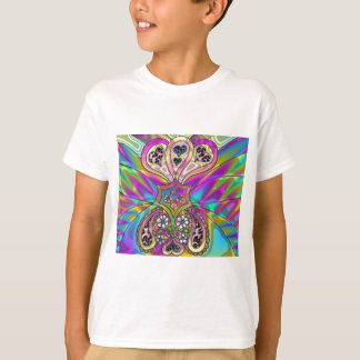 Retro 60s Psychedelic Hearts Flowers Gifts Apparel T-Shirt