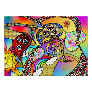 Retro 60s Psychedelic Hearts Paisley Print Poster