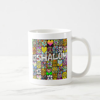 Retro 60s Psychedelic Shalom LOVE Apparel Gifts Classic White Coffee Mug