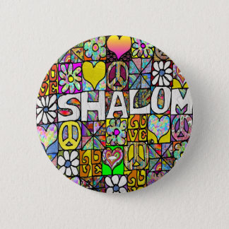Retro 60s Psychedelic Shalom LOVE Apparel Gifts Pinback Button