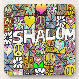 Retro 60s Psychedelic Shalom LOVE Beverage Coaster