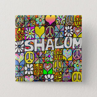 Retro 60s Psychedelic Shalom LOVE Button