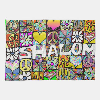 Retro 60s Psychedelic Shalom LOVE Kitchen Towels