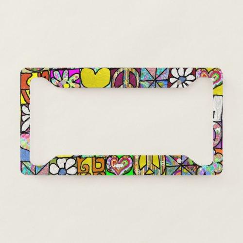 Retro 60s Psychedelic Shalom Love License Plate Frame