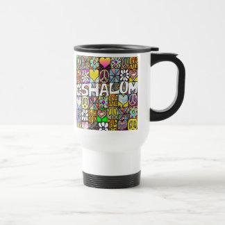 Retro 60s Psychedelic Shalom LOVE 15 Oz Stainless Steel Travel Mug