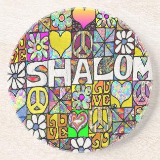 Retro 60s Psychedelic Shalom LOVE Sandstone Coaster