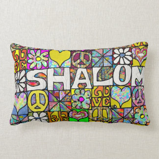 Retro 60s Psychedelic Shalom LOVE Throw Pillow