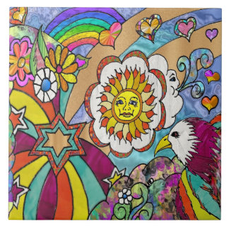 Retro 60s Psychedelic Sunshine Eagle Large Square Tile