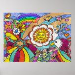 Retro 60s Psychedelic Sunshine Eagle Print Poster
