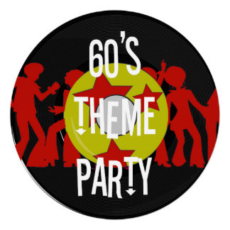 Retro 60's Theme Party Invitations