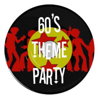 """Retro 60's Theme Party Invitations 5.25"""" Square Invitation Card"""