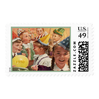 Retro 65th Birthday Party 1950 Childhood Memories Stamps