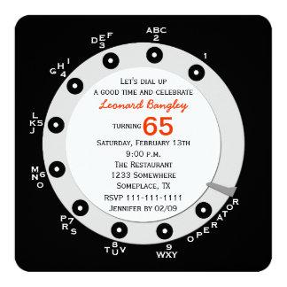 Retro 65th Birthday Party Invitation Rotary Dial