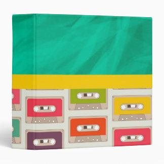 Retro 70s Cassette Tape Pattern 3 Ring Binder