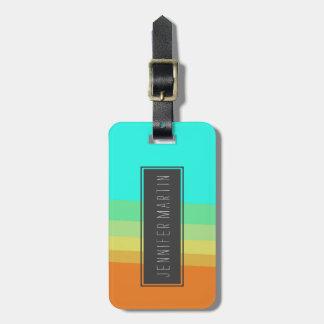 Retro 70's Color Block Gradient Luggage Tag