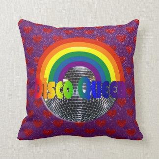 Retro 70s Disco Ball Dance Queen | Rainbow Hearts Throw Pillow