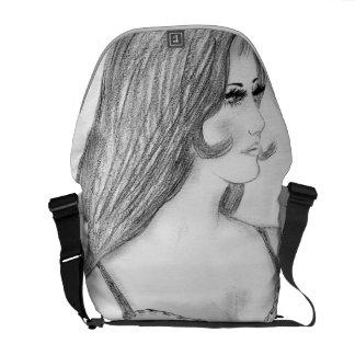 Retro 70's Fashion Model Bikini Girl Messenger Bag
