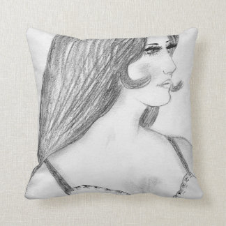 Retro 70's Fashion Model Bikini Girl Throw Pillow