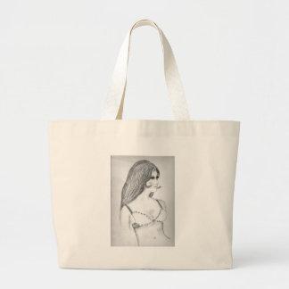 Retro 70's Fashion Model Large Tote Bag