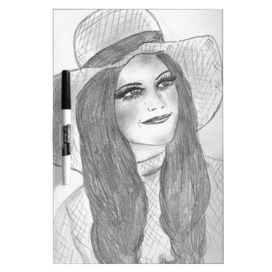 Retro 70s Girl in Hat Dry-Erase Board