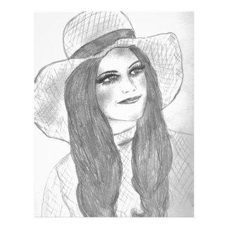 Retro 70s Girl in Hat Letterhead