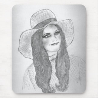 Retro 70s Girl in Hat Mouse Pad
