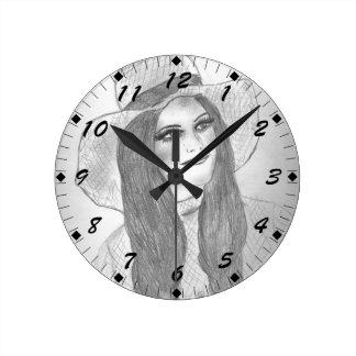 Retro 70s Girl in Hat Round Clock