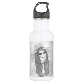 Retro 70s Girl in Hat Water Bottle