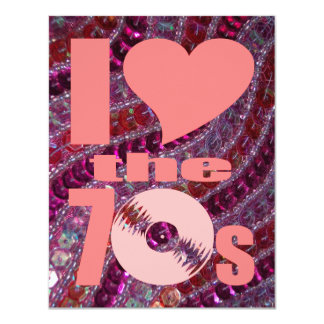 "Retro 70s Girly Pink Purple Glitter Sequins 4.25"" X 5.5"" Invitation Card"