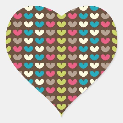 Retro 70s Groovy Pattern Heart Sticker
