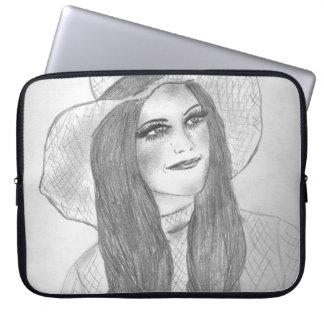 Retro 70s Hat Girl Laptop Sleeve