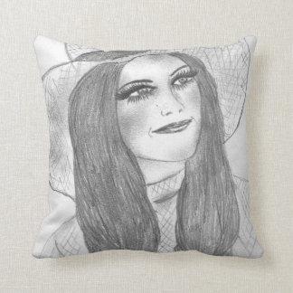 Retro 70s Hat Girl Throw Pillow