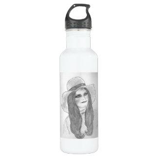Retro 70s Hat Girl Water Bottle