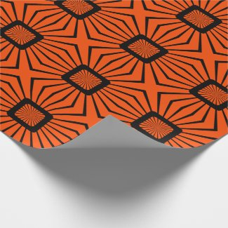 Retro 70s Orange and Black Wrapping Paper