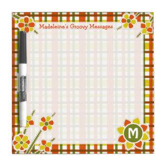 Retro 70s Orange Plaid Floral Monogram Custom Dry Erase Whiteboards