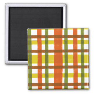 Retro 70s Orange Yellow Plaid 2 Inch Square Magnet