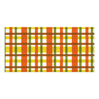Retro 70s Orange Yellow Plaid Card