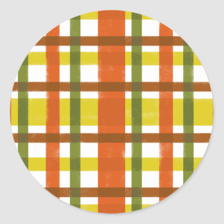 Retro 70s Orange Yellow Plaid Classic Round Sticker