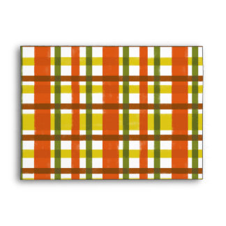 Retro 70s Orange Yellow Plaid Envelope