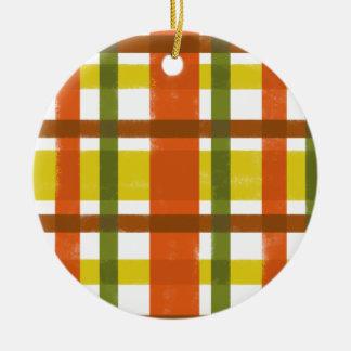 Retro 70s Orange Yellow Plaid Double-Sided Ceramic Round Christmas Ornament